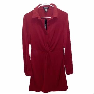 🌻Joe & Zelle Shirt Dress Knotted Front Wine Red M